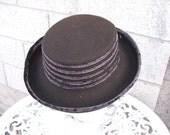 Brown Wool and Velvet Vintage Hat