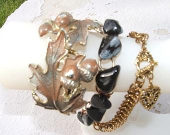 Snowflake Obsidian/Leaf/Acorn/ and Heart Vintage Bracelets Boho Nature