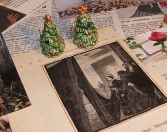 Christmas Tree Earrings Vintage