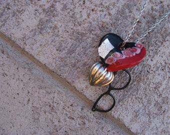 I See Your Bleeding Heart Necklace French Market Chic Boho Abstract Heart