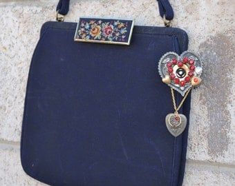 French Vintage Purse and Heart Pin