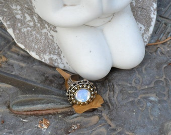 Opal Stunning Large Glass Ring Boho Festival Paris Chic
