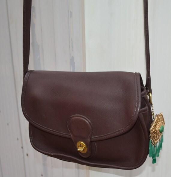 On Hold for Karen S Coach Brown Vintage Shoulder Bag with BrOOch Fob