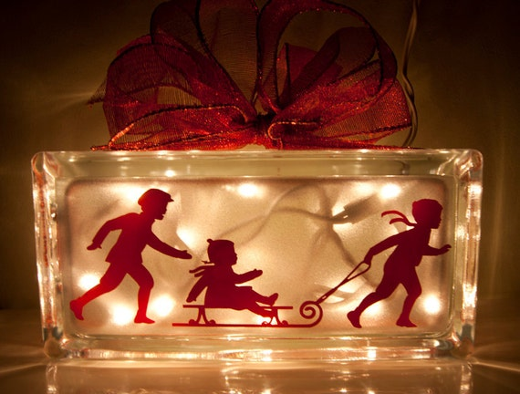 Vintage Look Red Holiday Children Sledding Christmas Night Light Glass Block