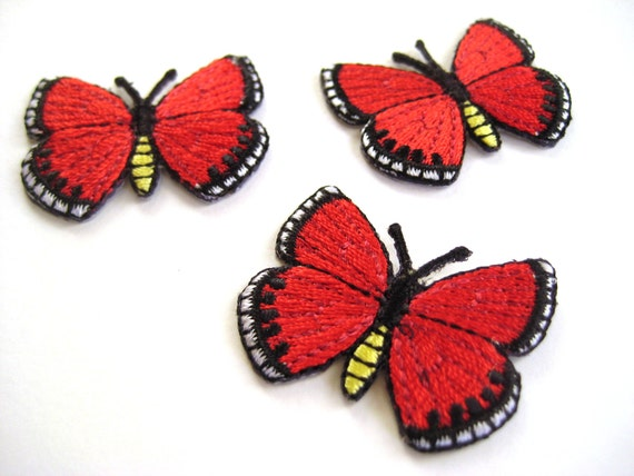 Iron on Embroidery Red Butterfly Patches