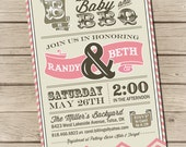 PRINTABLE - Couples BBQ - Baby Shower Invitation -  Digital