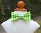 Green Gingham Child Bowtie with Velcro closures, fits 6mo-5T