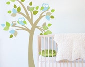 Tree with Owls Fabric Decal - Removable and Reusable