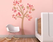 Baby Wall Decal Kids Wall Decal Baby Nursery Decal Tree Wall Decal Birds Orange. Tree with Bird Nest Children Wall Decal