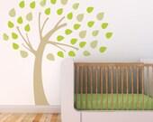 Baby Nursery Wall Decal Kids Wall Decal Beige Tree Green Leaves Kids Decor Baby Decor Nursery Tree Sticker. Windy Tree Children Wall Decal