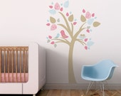 Baby Wall Decal Nursery Tree Wall Decal Kids Wall Stickers Baby Nursery Decor Pink. Tree with Bird Nest Children Wall Decal