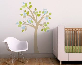 Baby Wall Decal Baby Nursery Wall Art Tree Owls Aqua. Tree with Owls Kids Wall Decal by Trendy Peas