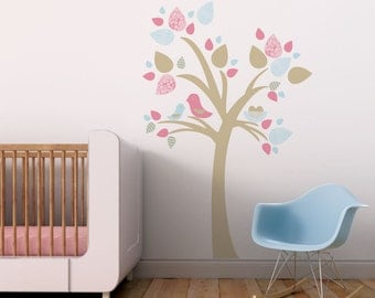 Nursery Tree Wall Decal, Nursery Decals, Bird Wall Decal, Large Tree Wall Decal, Wall Decal Tree. Tree with Bird Nest Children Wall Decal