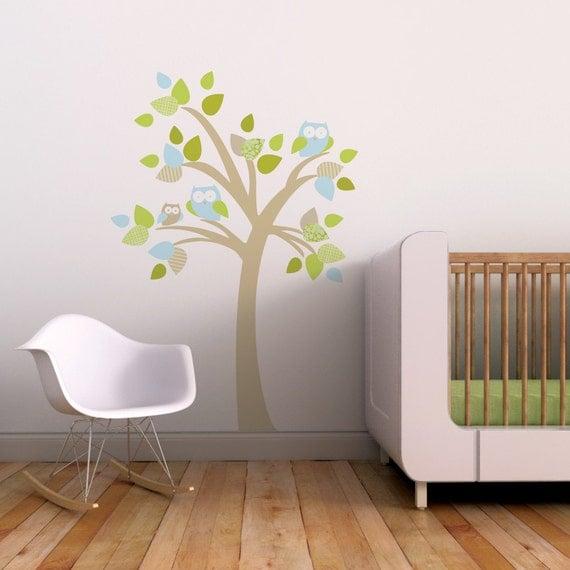 Baby Wall Decal Baby Nursery Wall Art Tree Owls Aqua. Tree with Owls Kids Wall Decal by Trendy Peas