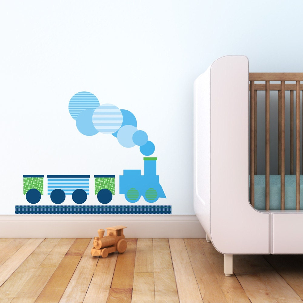items similar to kids decal nursery decal baby boy wall decor modern train children wall. Black Bedroom Furniture Sets. Home Design Ideas