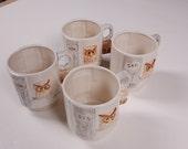 Vintage Enesco owl mugs -- Mom, Dad, Sis and Son