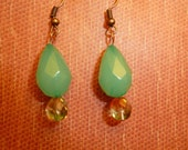 FREE SHIPPING. Green and orange glass bead earrings