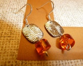 FREE SHIPPING. Orange and Silver Dangle Earrings