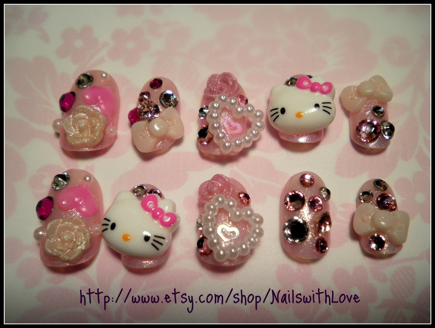 Japanese 3D Press on Nail Art Big Hello Kitty by NailswithLove