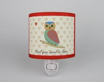 Owl You Need is Love Night Light with hearts