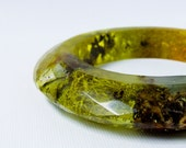 Bangle, eco resin wide multifaceted bangle bracelet with real Pacific Northwestern moss, lichen and bark