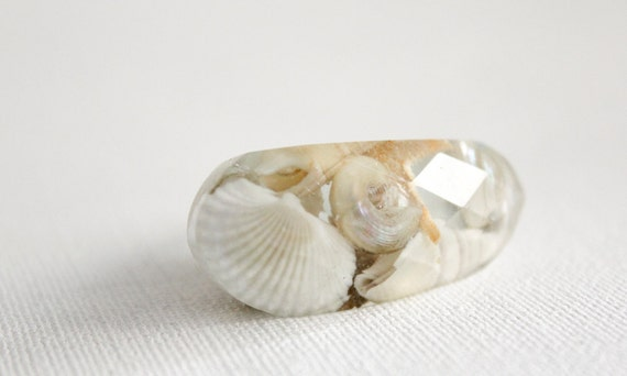 resin ring - eco resin translucent multifaceted oblong ring containing real shells