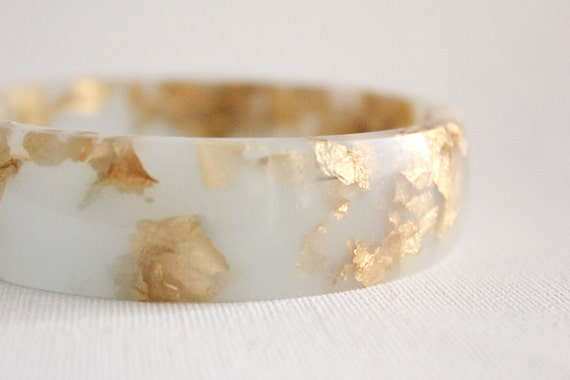 frost mint eco resin bangle bracelet with suspended gold leaf