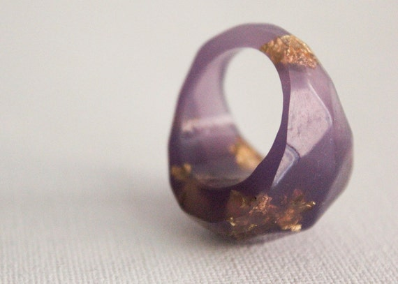 RESERVED - soft faceted eco resin ring with suspended gold leaf