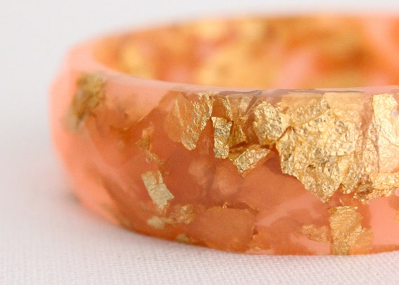 strawberry pink multifaceted eco resin bangle with metallic gold flakes