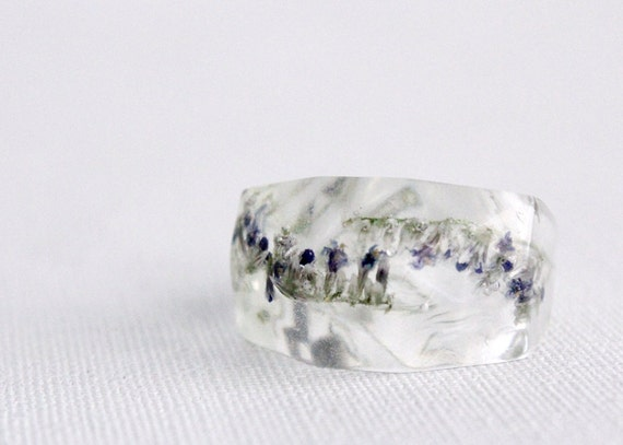 Eco resin ring - sea lavender limonium faceted transparent ring