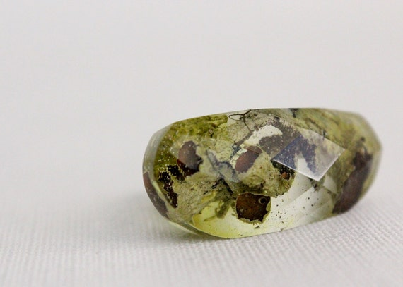 Pacific Northwest lichen and moss asymmetrical multifaceted eco resin ring
