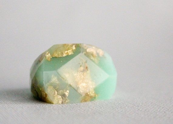 gold mint eco resin faceted ring with metallic gold leaf
