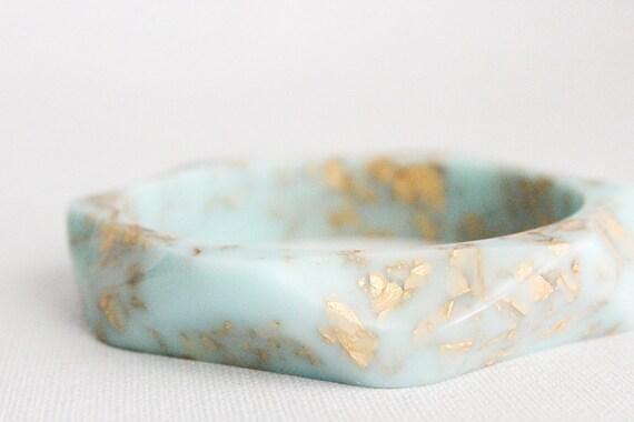 wavy tiffany blue with gold flakes eco resinbracelet bangle