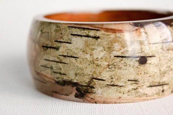 mossy birch bark eco resin bangle round