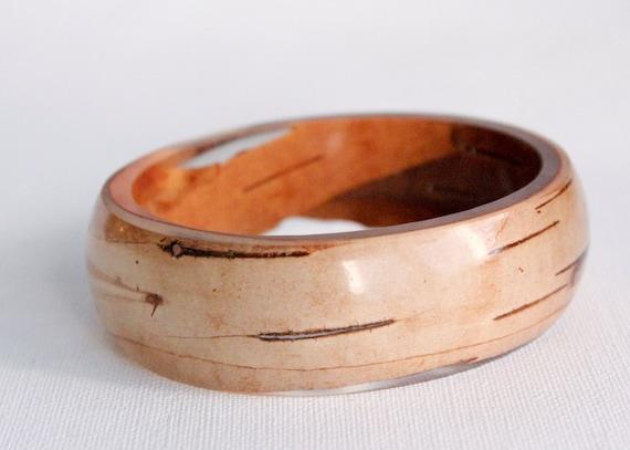 oval birch bark transparent eco resin bangle bracelet