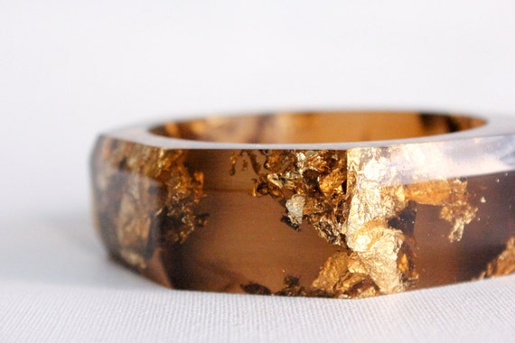 tiger eye octagonal eco resin faceted bangle with metallic gold flakes