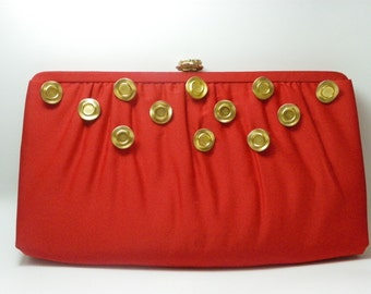 Excellent Vintage Red Clutch with Gold Vintage Buttons