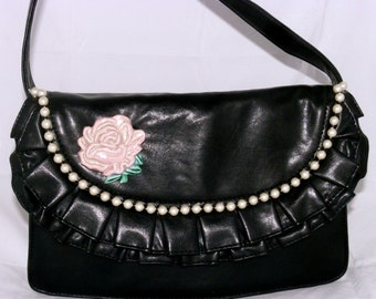 Embellished Black Handbag with Pearls and Flower