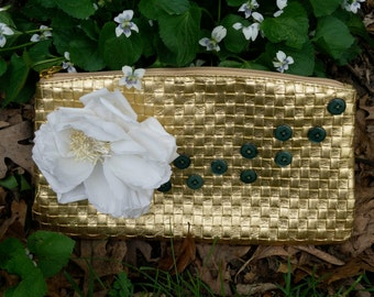 Gold Clutch with White Silk Flower
