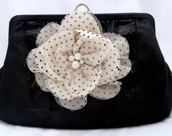 Black Leather Vintage Purse with Huge Polka Dot Flower