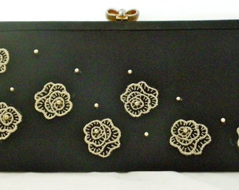 Black Vintage Clutch with Pearls and Flower Appliques