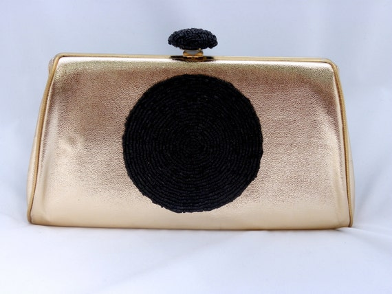 Vintage Gold Clutch with Black Beaded Embellishment