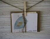 Handmade Bird Note Cards Set of 5
