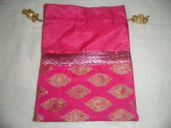 Indian Wedding Gift Bags: Indian Sari Fabric Beaded Jeweled Hot Pink Magenta Gold Favor