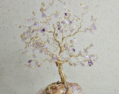 Tree of life, earrings and rings holder, with lilac amethyst and brass wire (A12)