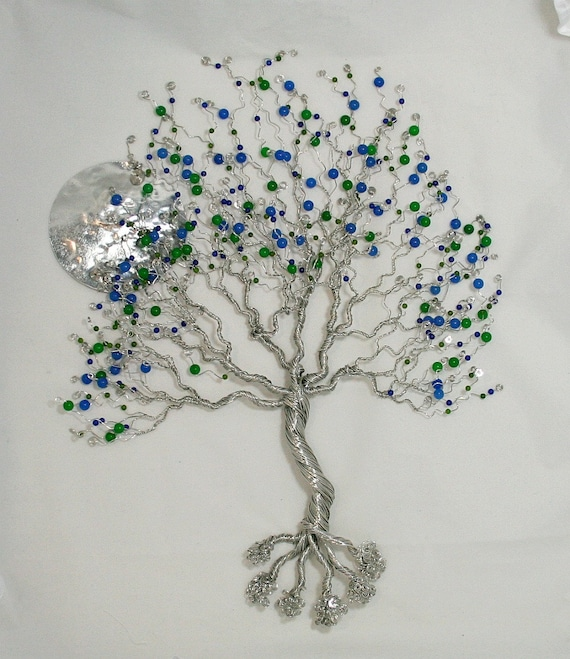 Bigtree of life for your wall, with blue sapphire and green  emerald,