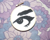 eye eye hand sticthed art .wall plaque.pin up girl art  embroidery. Decorative art