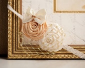 ALL THAT GLITTERS--Cream and Gold Satin Flower Headband