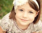 THE VANESSA--Lavender & Cream Satin Flower Ruffle Headband