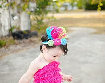 THE RIO--Hot Pink, Lime Green, Turquoise Flower & Feather Headband